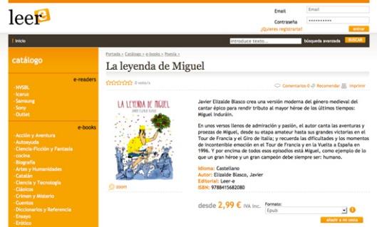 """""""La leyenda de Miguel"""" en Leer-e"""